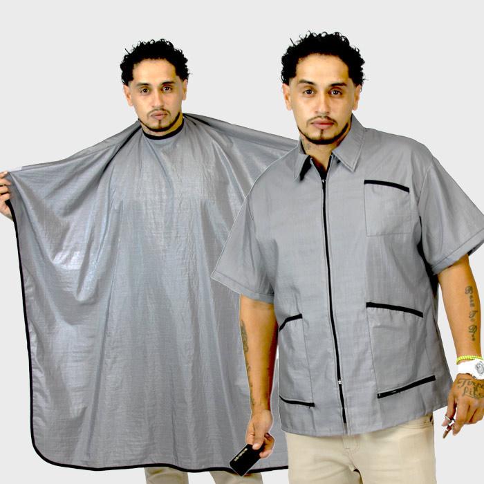 Barber Jacket Supreme & Cape Gray